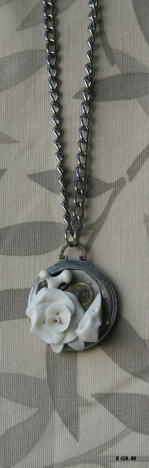 porcelain jewelry pocket watch skull rose bone