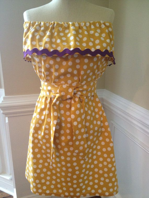 Gold and Purple, LSU or ECU Gameday Dress with Matching Sash on Etsy, $40.00