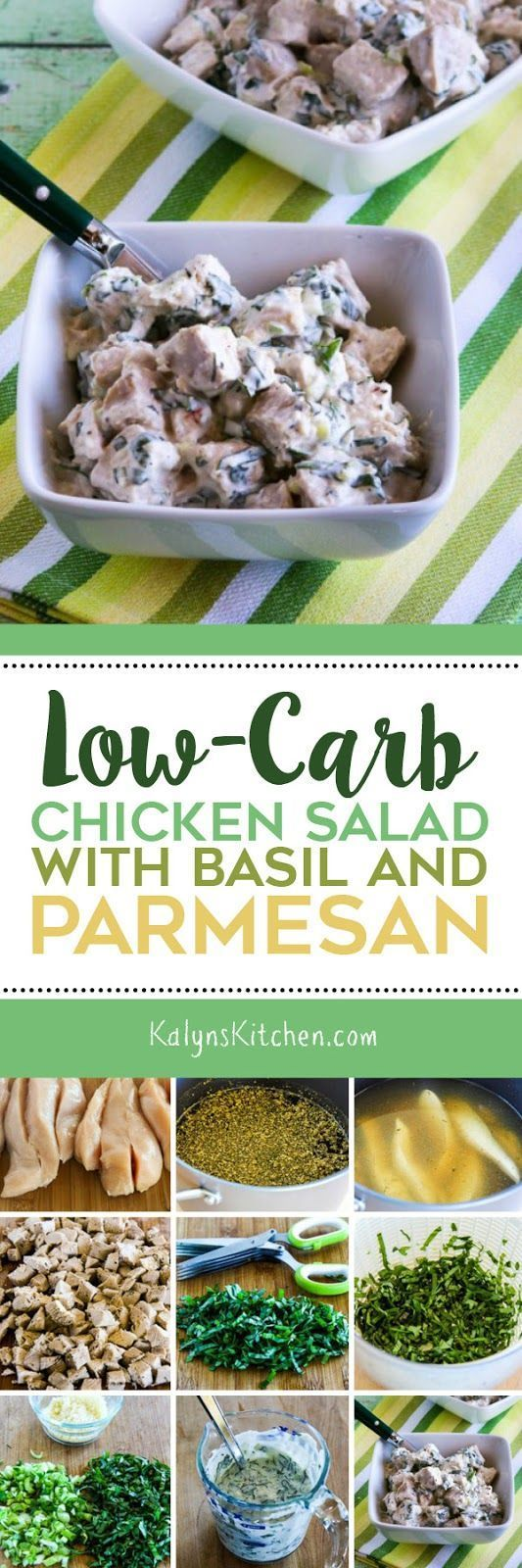 Low-Carb Chicken Salad with Basil and Parmesan is an absolute treat when you have fresh basil (maybe one of those plants from Trader Joe's if you don't have a garden!) And this tasty salad is low-carb, Keto, low-glycemic, gluten-free, and South Beach Diet friendly. [found on KalynsKitchen.com]