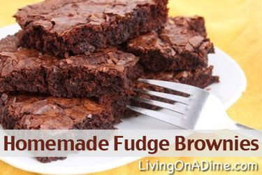 Taste's Just Like A Box Mix! Looking for an easy and inexpensive homemade fudge brownie recipe? You can make these homemade fudge brownies in less than 5 minutes for less than 50 cents a batch. Click here to get this yummy #recipe  from Dining On A Dime Cookbook http://www.livingonadime.com/store/dining-on-a-dime-cookbook/.