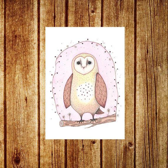 Barn Owl Greetings Card  Cute Baby Barn Owl Owlet Woodland