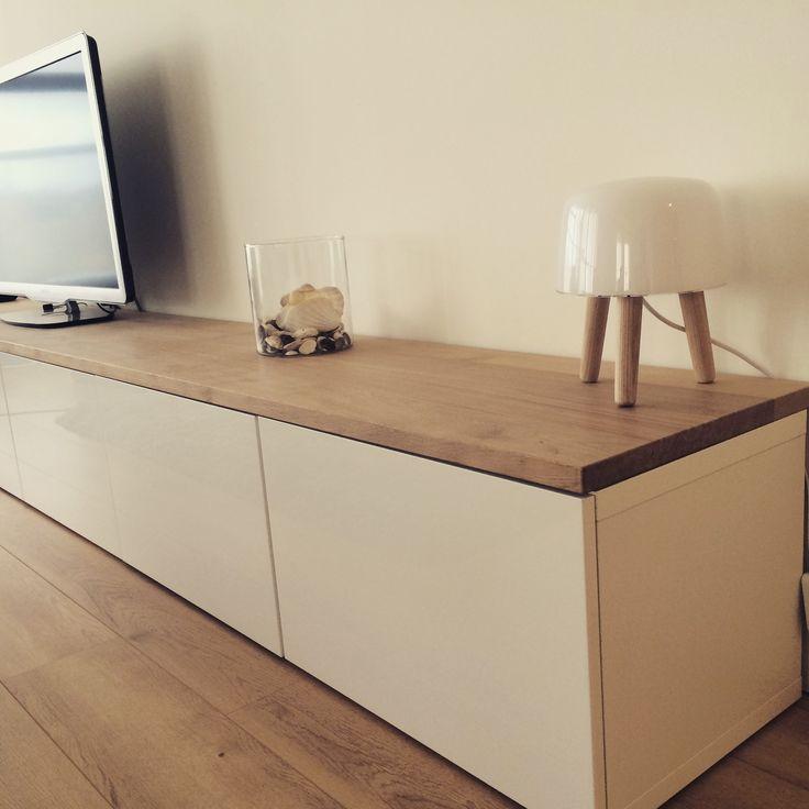 Ikea hacks. Besta with oak plank.