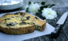 The delicious flavour of this simple quiche comes down to the buttery, garlicky mushrooms. Throw in some leftover cooked chicken and a handful of cheese.