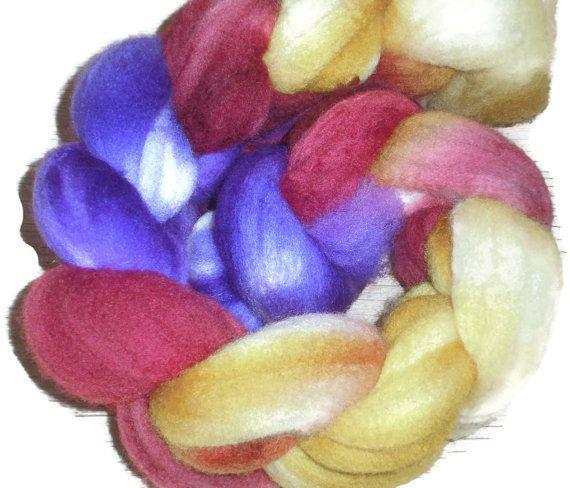 "Polwarth Wool Roving - Hand dyed Spinning Fiber - Felt- Nuno felt - Wet felting ""Awtumn Dreams"""