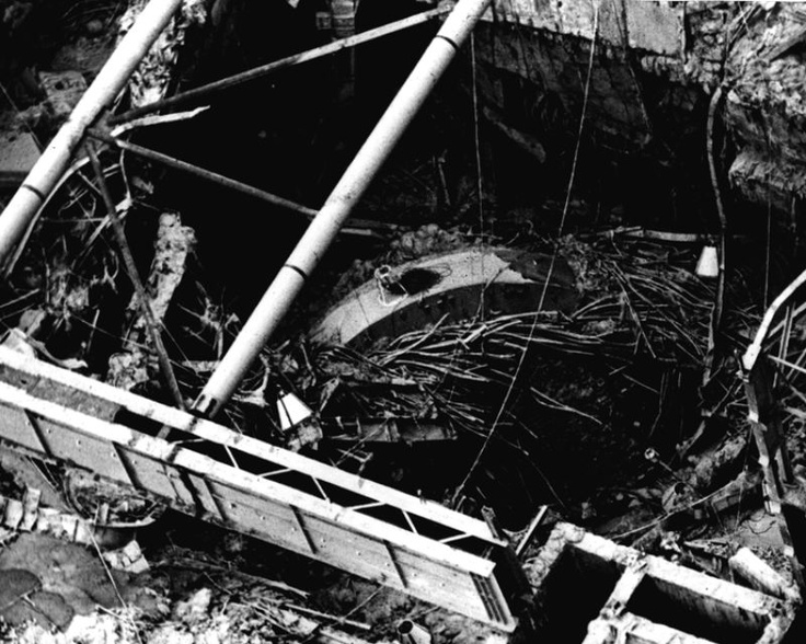 Chernobyl plant after explosion - the top of the reactor