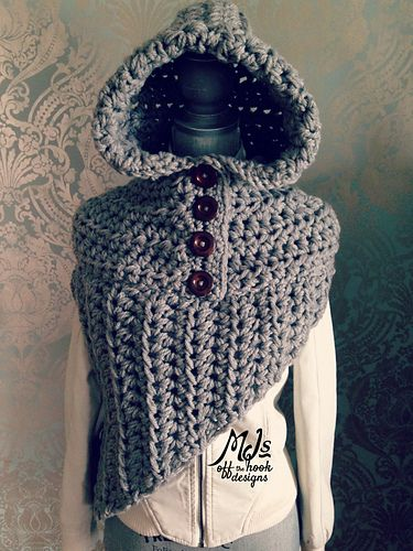 Bulky Hooded Katniss Cowl pattern by MJ's Off The Hook Designs