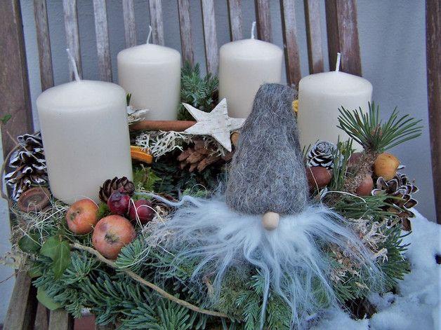 Adventskranz - Adventskranz grauer Filzwichtel - ein Designerstück von zauberzimmer bei DaWanda