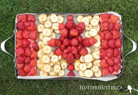 Even your fruit can be festive on Canada Day with this Canadian flag fruit tray idea.