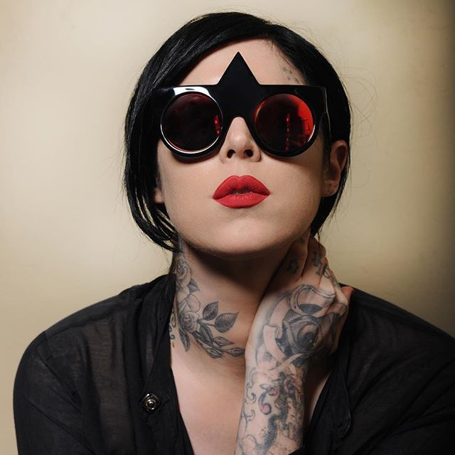 "I love @notjustalabel.  sunglasses: fakoshima  lipstick: @katvondbeauty in ""santa sangre"""