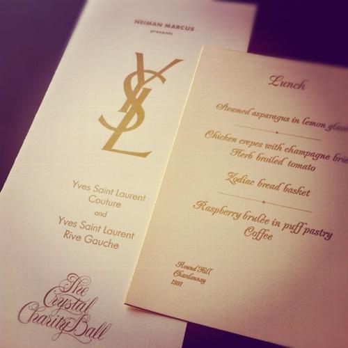 Yves Saint Laurent's Crystal Charity Ball program and menu card, 1991.