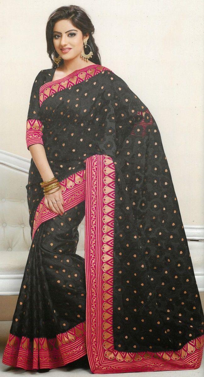 Mesmerizing Black Embroidered #Saree