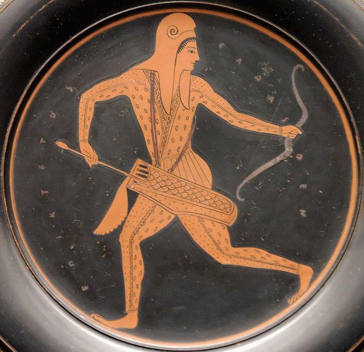 EPICTETO ARQUERO. Ceramica, s. V-IV a. C., conservada en el Museo Britanico Londres 520-490 a. C.