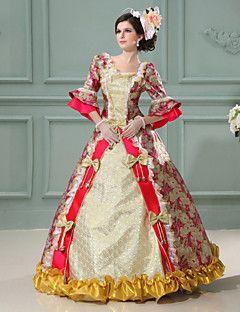vendita steampunk®top vestito dalla principessa stampa rosso vestito da partito vittoriano lungo cosplay abiti da ballo