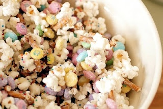 Bunny Bait  1 bag popcorn, popped  6 oz. white chocolate candy coating  1 bag Easter M  pretzel sticks, broken into small pieces  colorful sprinkles, if desired  Place the popped popcorn in a large bowl with the broken up pretzels and M Heat the candy coating, until melted and smooth.  Drizzle the candy coating over the popcorn mixture and stir to coat. Spread out on a large piece of wax paper, top with a few sprinkles (if desired) and let cool. Break into pieces and serve in a large bowl: Bunnybait, White Chocolates, Bunnies Bait, Chocolates Candy, Easter Bunnies, Pretzels Sticks, Bunny Bait, Easter Treats, Easter Ideas
