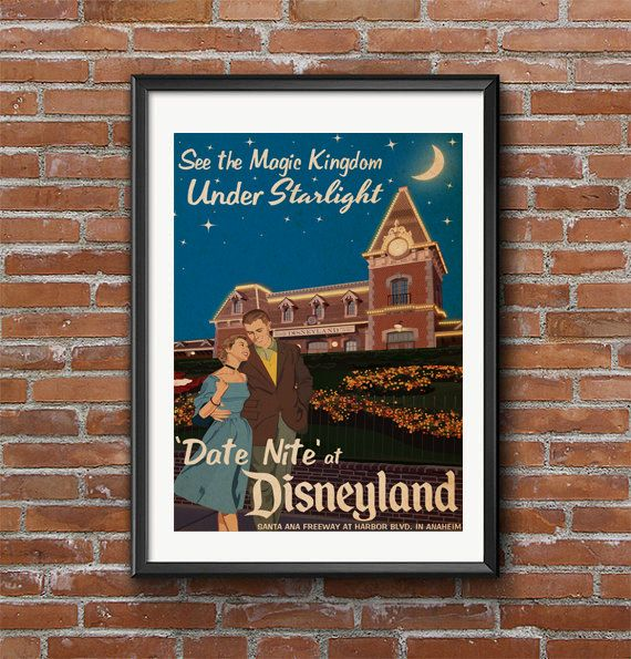 Disneyland Date Nite Under Starlight - Vintage Poster, Old Prints, Vintage Disneyland Posters, Vintage Disney Posters Wall Art Print