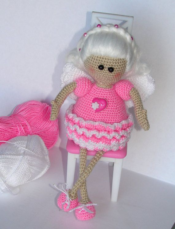 Angel  doll handmade crochet pink dress white hair от KrugerShop
