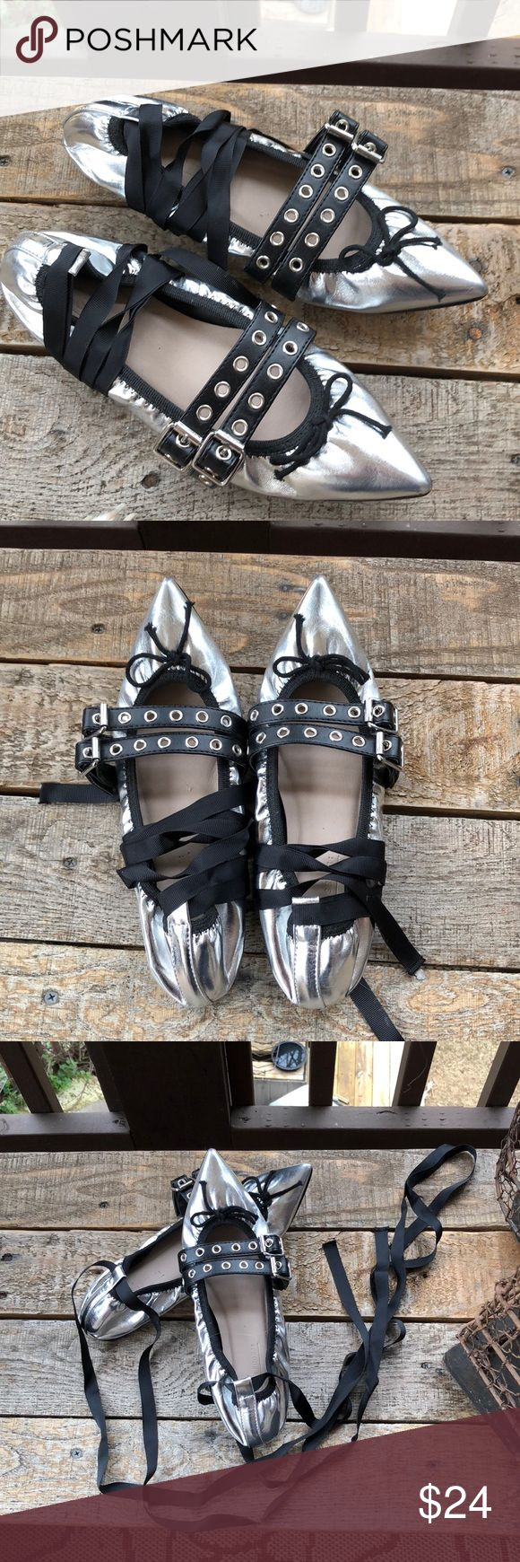 Silver Ballet Flats. Black buckles & ankle straps Shiny, pretty Silver Ballet Flats.  Black buckle straps and long black ribbon to tie around ankles. UK 5. US 6.5. Excellent condition! 0 Shoes