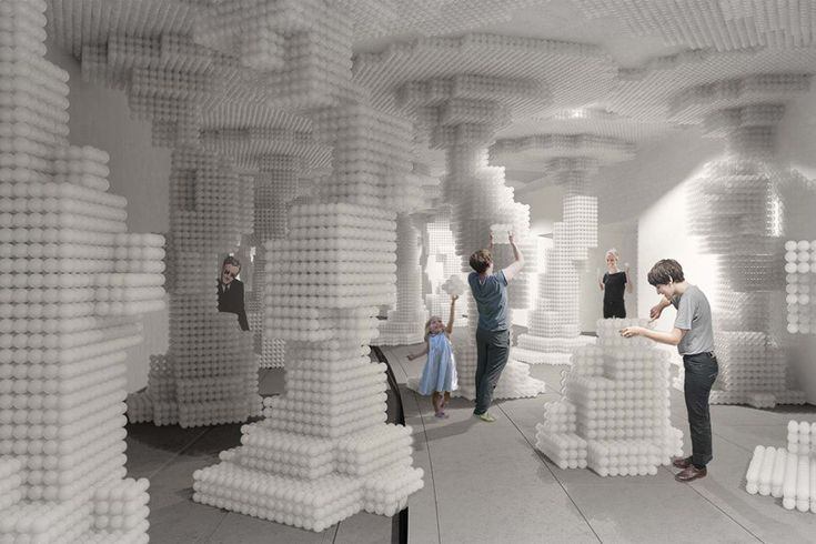 """The winning entry in the """"Re-Ball!"""" design competition remakes """"The Beach"""" balls into movable blocks."""