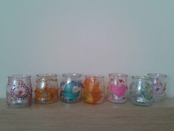 Porta velas con vasos de yogurt de cristal manualidades - Manualidades con vasos ...