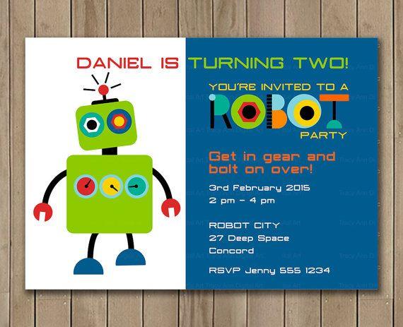Robot invitación invitación personalizada por TracyAnnPrintables