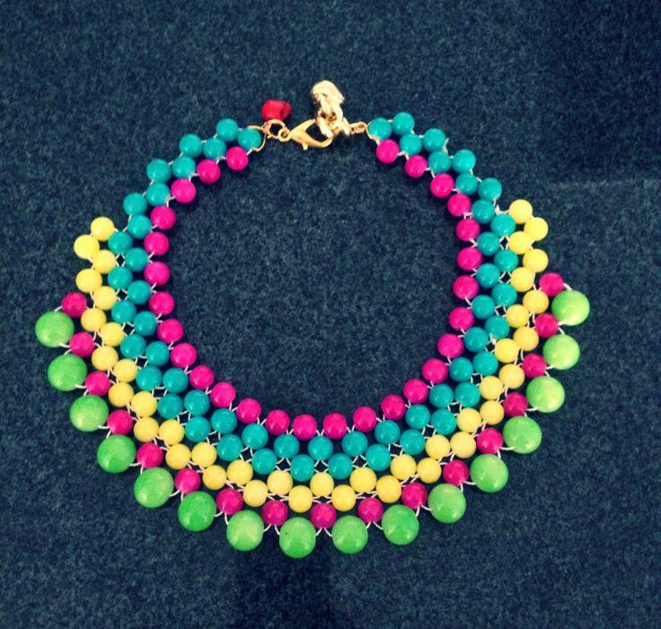 Collar de bolas de cristal jade