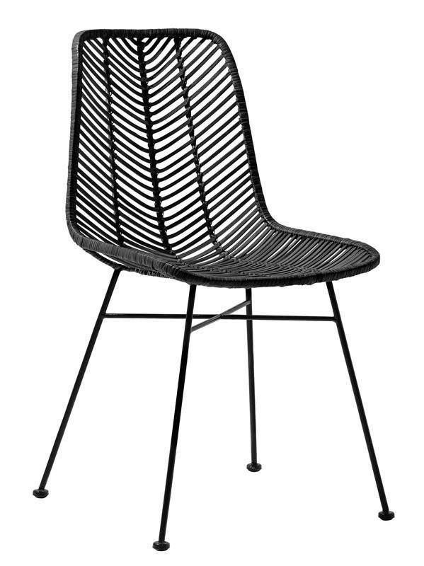 Bloomingville Lena Spisebordstol - Spisebordstol fra Bloomingville i svart rattan. Materialet i svart rattan gjør at stolen er enkel å vedlikeholde