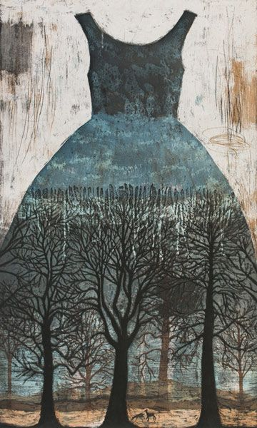 Kirsi Neuvonen - Aarnimetsä Paper Dress painting with bare trees . distressed wood