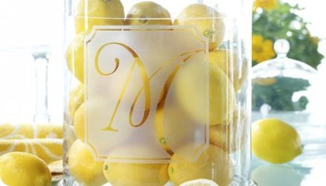Easy project with frosted glass spray paint and monogram stickers... I definitely have to try this.