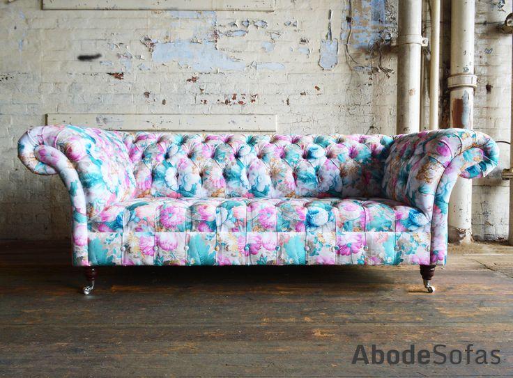 Botanical Floral Velvet Chesterfield Sofa, exclusive printed velvet | Abode Sofas