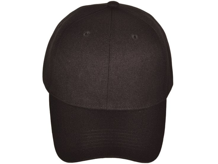 Wholesale 6 Panel Mid Profile Blank Baseball Caps (Black)