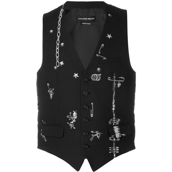 Alexander McQueen safety pin waistcoat (2,355 CAD) ❤ liked on Polyvore featuring men's fashion, men's clothing, men's outerwear, men's vests, black and alexander mcqueen