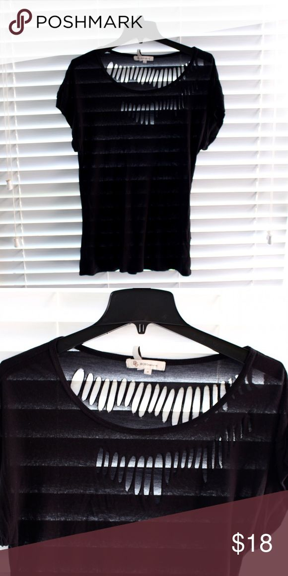 BCBGeneration Black Ripped Shirt BCBGeneration Black Ripped Shirt. Size M. BCBGeneration Tops Tees - Short Sleeve