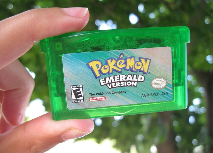 A personal favorite from my Etsy shop https://www.etsy.com/listing/486312570/pokemon-emerald-game-boy-advance-version
