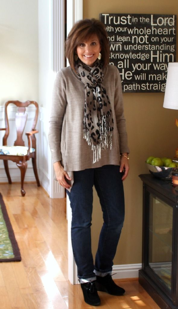 Fashion Over 40-What I Wore -- taupe sweater, scarf, jeans -- a cute, casual look