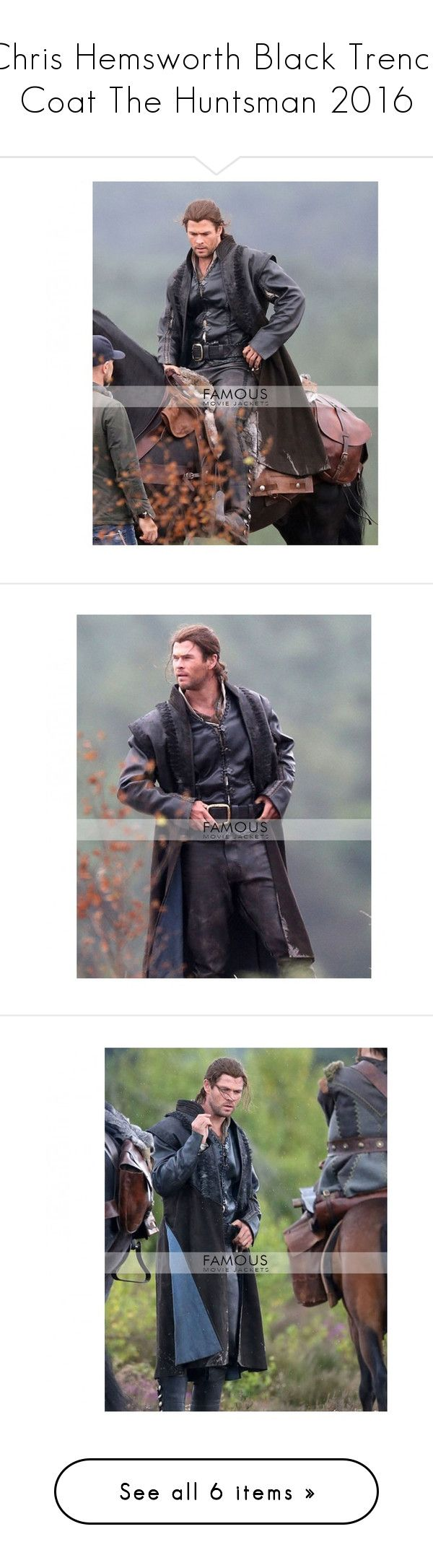 """""""Chris Hemsworth Black Trench Coat The Huntsman 2016"""" by riscillalauryn on Polyvore featuring chris hemsworth, boys, people, outerwear and vests"""