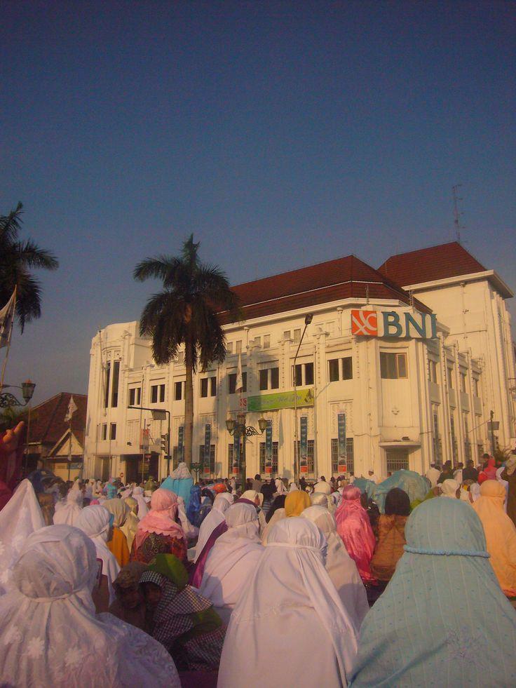 Ied Pray between old BNI office, Malioboro, Alun-alun Kraton. Jogja, Indonesia.