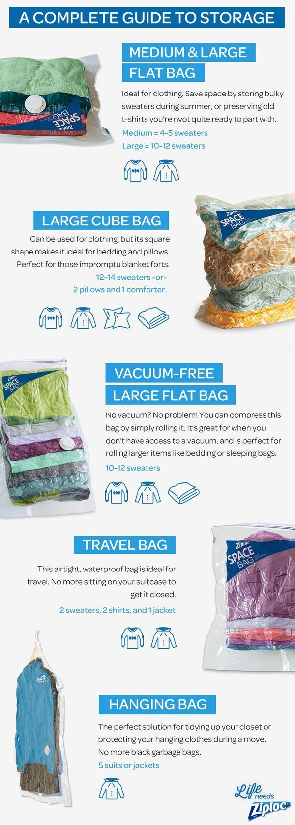 Swap out your seasonal clothes and stay organized with Ziploc® Space Bag® products. Use these small-space storage solutions to clean up your bedroom or linen closet. Each bag will free up space and is perfect for storing bulky winter clothes and bedding or summer linens and towels. Simply stuff each bag, seal it up, and vacuum for up to 3x as much space.