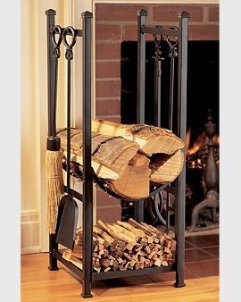 This would be a great way to keep wood & the fireplace tools handy & looking nice.