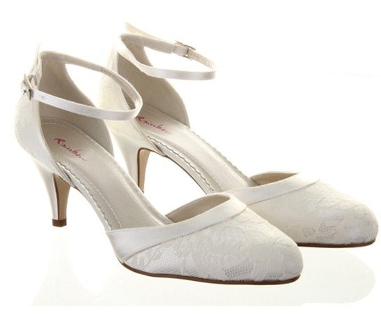Penny by Rainbow Club  6.25cm Shoe covered in ivory lace with a sleek satin overlay and ankle strap. Due in February. Fully dyeable. Sizes 36-41, incl. 1/2 sizes.