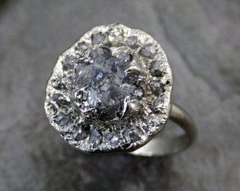 Materia prima anillo de compromiso diamante Halo áspero 14 k oro blanco anillo de bodas diamante boda conjunto apilado bruto diamante anillo byAngeline 0086