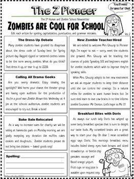EDITING PRACTICE - ZOMBIE NEWSLETTERS, COMMON CORE ALIGNED - TeachersPayTeachers.com