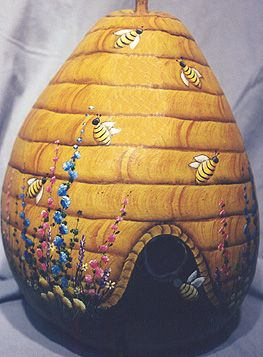 Birdhouse Gourd painted as beehive...got to try one like this!