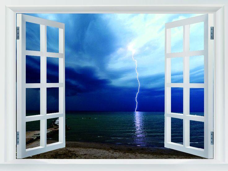 Молния Пляж Огайо National Geographic Поддельные Окна Искусство Огромный Печати Плаката TXHOME WJ1673