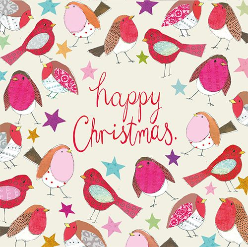 For all those bright and bubbly! Some rather funky robins this Christmas #lovecards #xmas2014