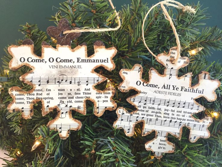 Christmas Music Ornaments, Christmas Sheet Music Ornaments, Rustic Ornaments, Wooden Ornaments, Snowflake Ornaments, Holiday Hostess Gift by AtHomeWithWords on Etsy https://www.etsy.com/listing/482954057/christmas-music-ornaments-christmas