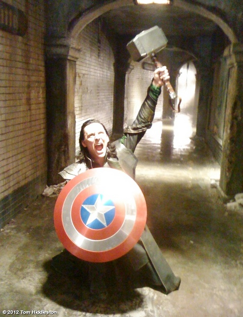 "Loki with Thor's hammer and Cap's sheild! - ""I am Loki, of Asgard, and I am burdened with a glorious Props Department"".Geek, This Man, Marvel, Loki, Captain America, Tomhiddleston, Funny, The Avengers, Tom Hiddleston"