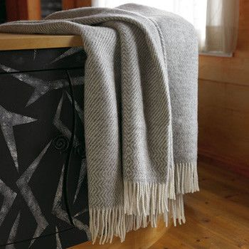 Kattefot Fringed Wool Blanket by Røros Tweed $325 from @Lufina Wovens