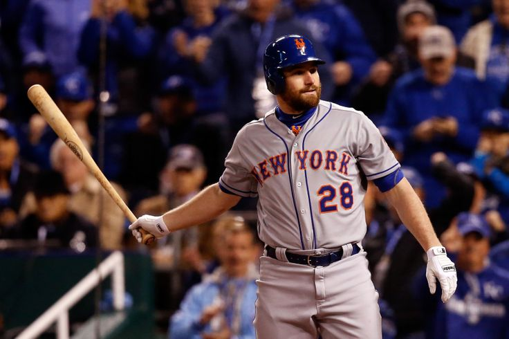 WORLD SERIES GAME 2 - Daniel Murphy of the New York Mets reacts after striking out in the first inning against the Kansas City Royals during Game 2 of the World Series at Kauffman Stadium on Oct. 28, 2015. (Photo by Christian Petersen/Getty Images)