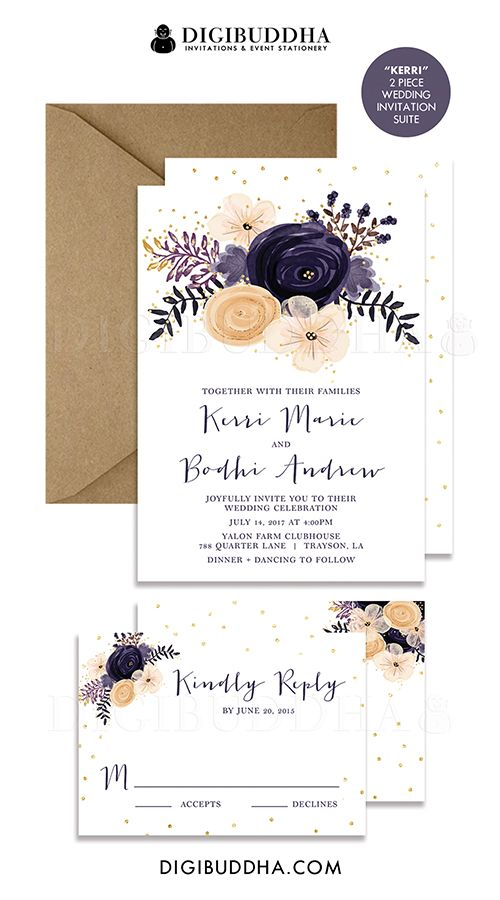 Boho chic plum purple watercolor floral 2-pc wedding invitation & RSVP suite.  Painterly shabby chic rustic flowers with tiny gold glitter dot confetti sprinkles. Choose from ready made printed cards or printable wedding invitations for a DIY option. Kraft envelopes and matching envelope liners also available, at digibuddha.com