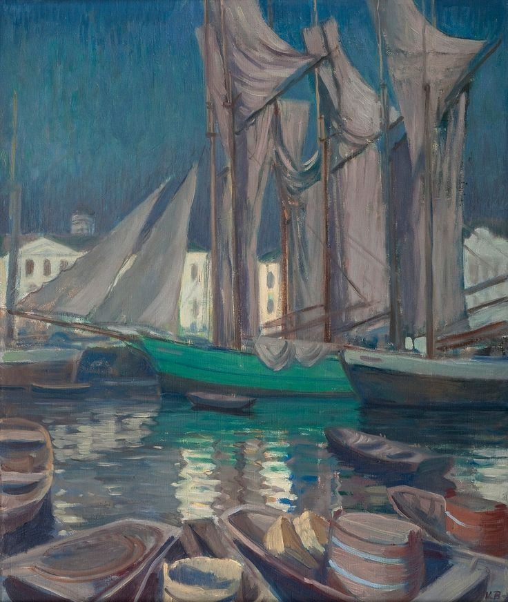 VÄINÖ BLOMSTEDT, 1871-1947, BOATS IN THE HARBOUR OF HELSINKI.